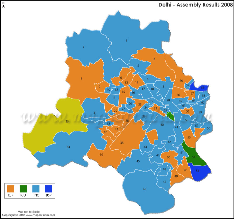 Delhi Assembly Election Results 2008
