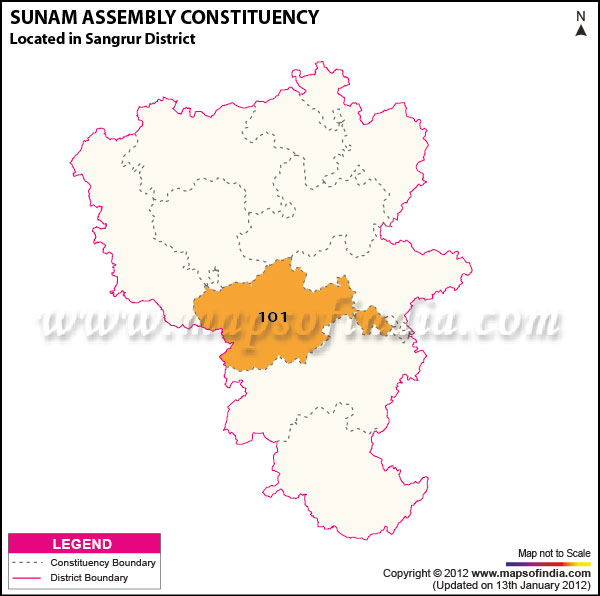 Assembly Constituency Map of Sunam
