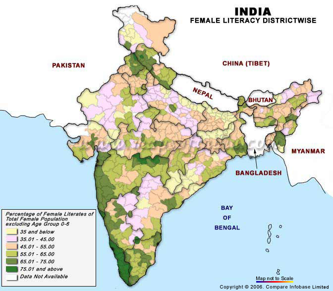 Map Showing The Female Literacy Rate Of India Maps Of India - Us literacy map