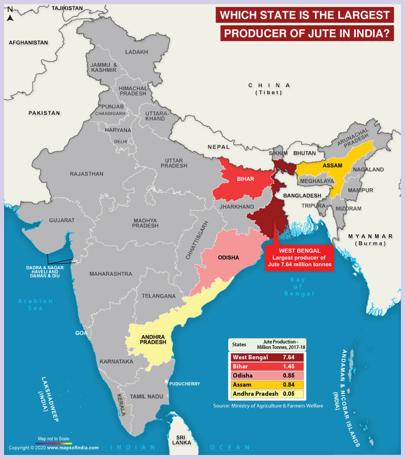Map of India Highlighting the Largest Jute Producing State
