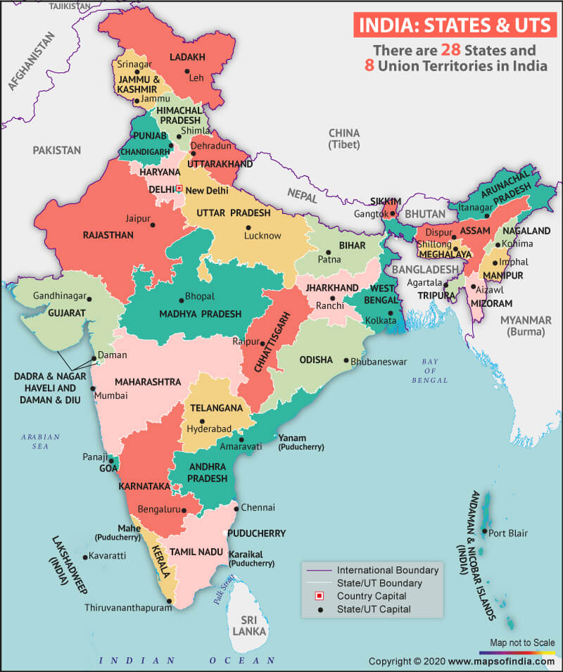 Map of India Highlighting States and Union Territories