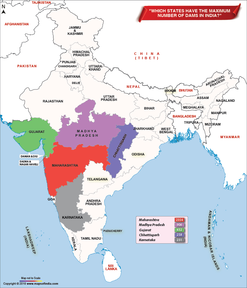 Which states have maximum number of large dams in India?