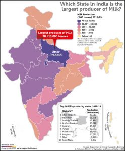 Map of India Showing the Largest Milk Producing State as per 2018-19