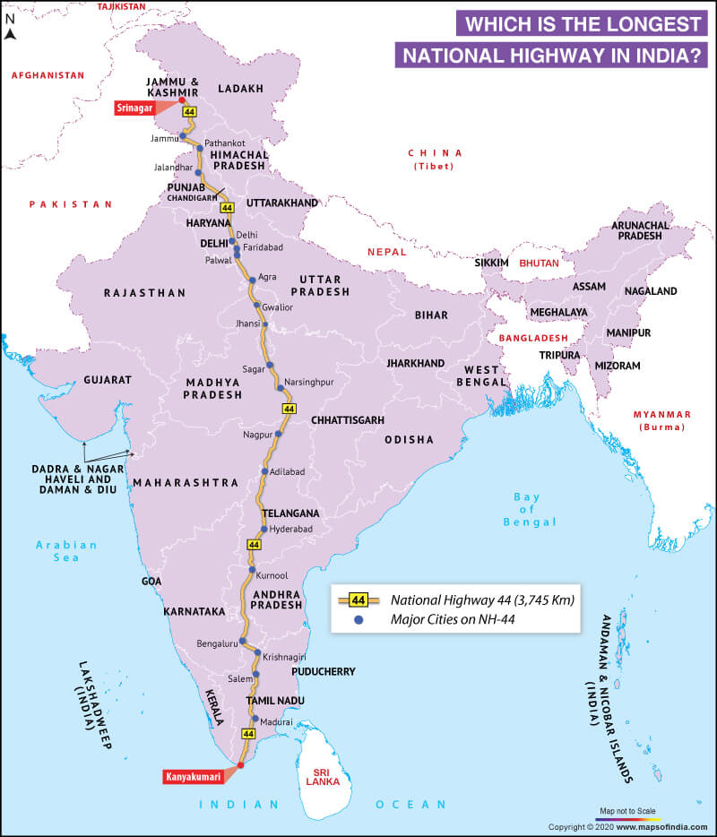 Map of India Highlighting the Longest National Highway