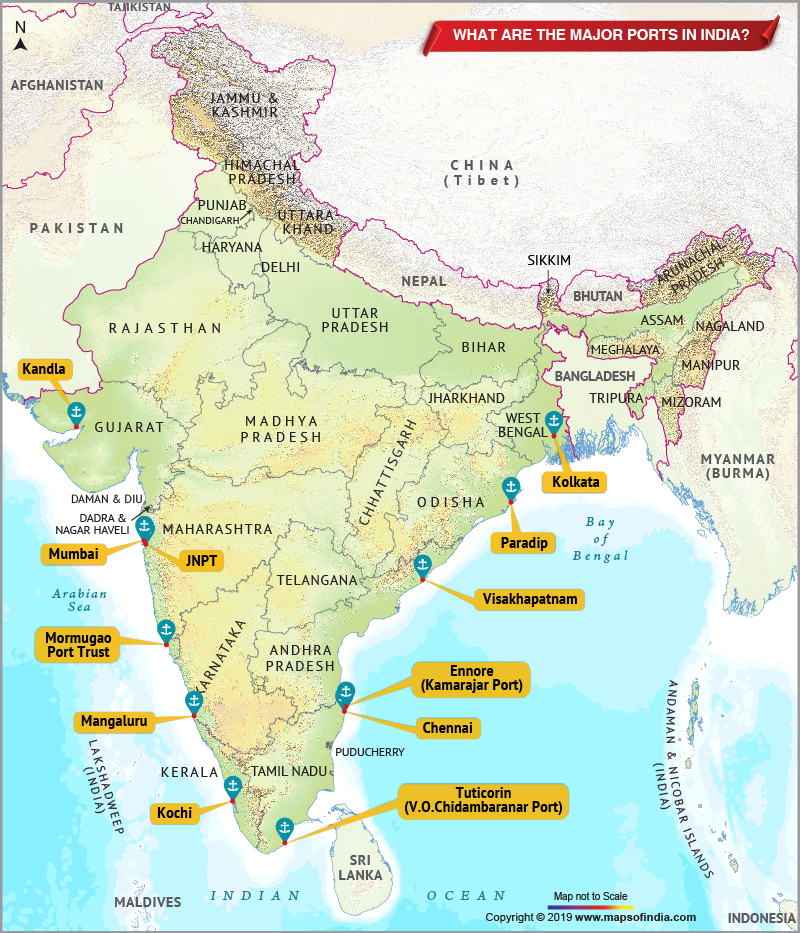 What are the Major Ports in India Map