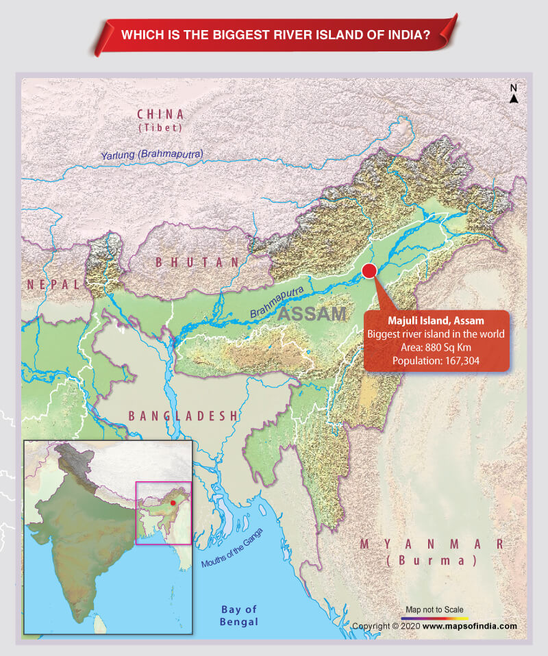 Map Highlighting Location of the Biggest River Island in India
