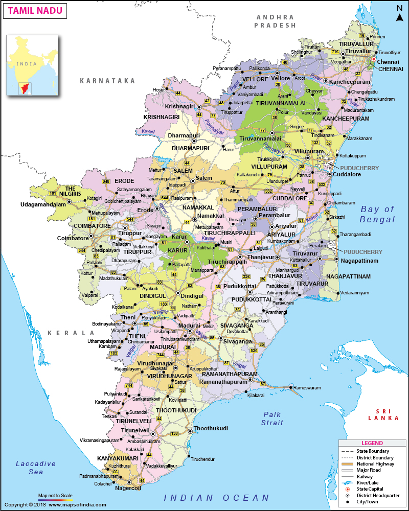 route map of tamilnadu Tamil Nadu Map State District Information And Facts route map of tamilnadu