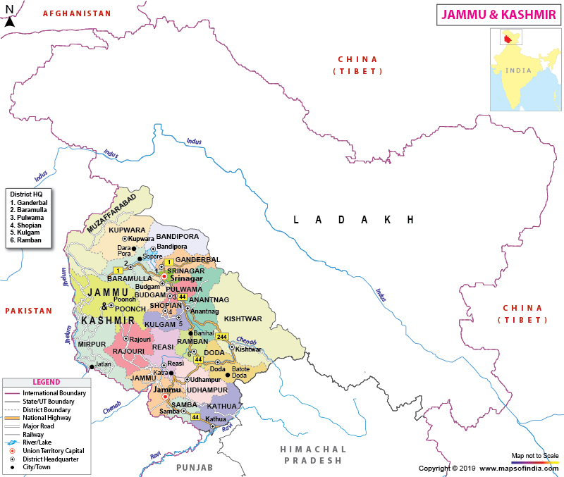 map jammu and kashmir state Jammu And Kashmir Map Union Territory Information Facts And Tourism map jammu and kashmir state