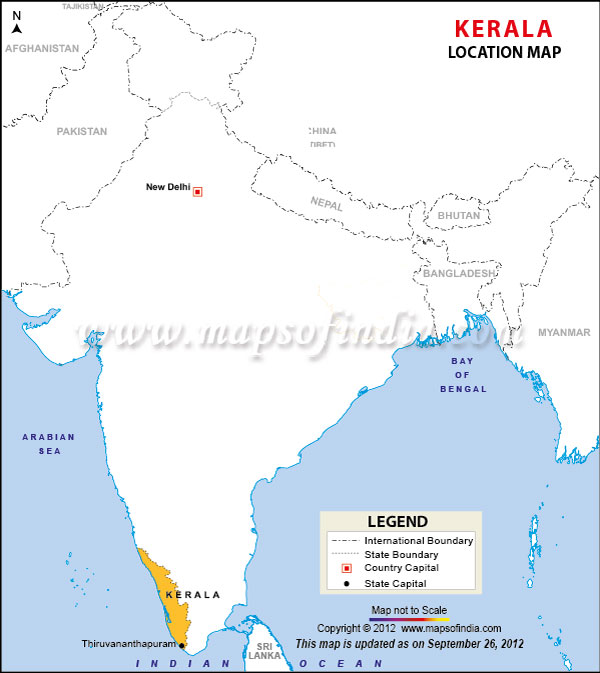 capital of kerala in india map Kerala Location Map capital of kerala in india map