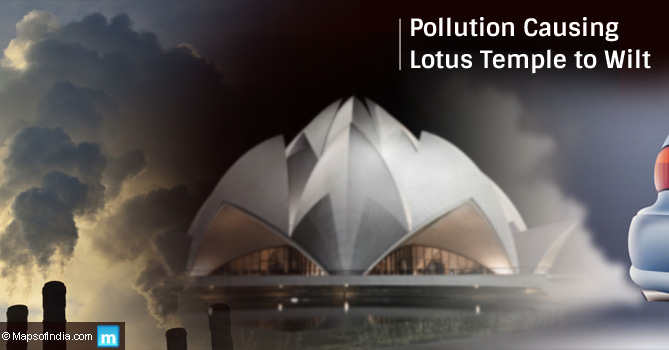 Lotus temple affected by pollution