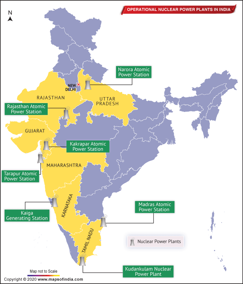 Map of India Showing Location of 7 Nuclear Power Plants