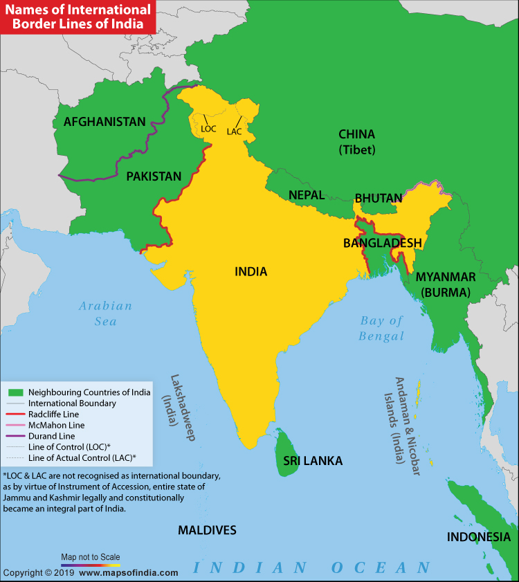 Map Showing International Border Lines of India