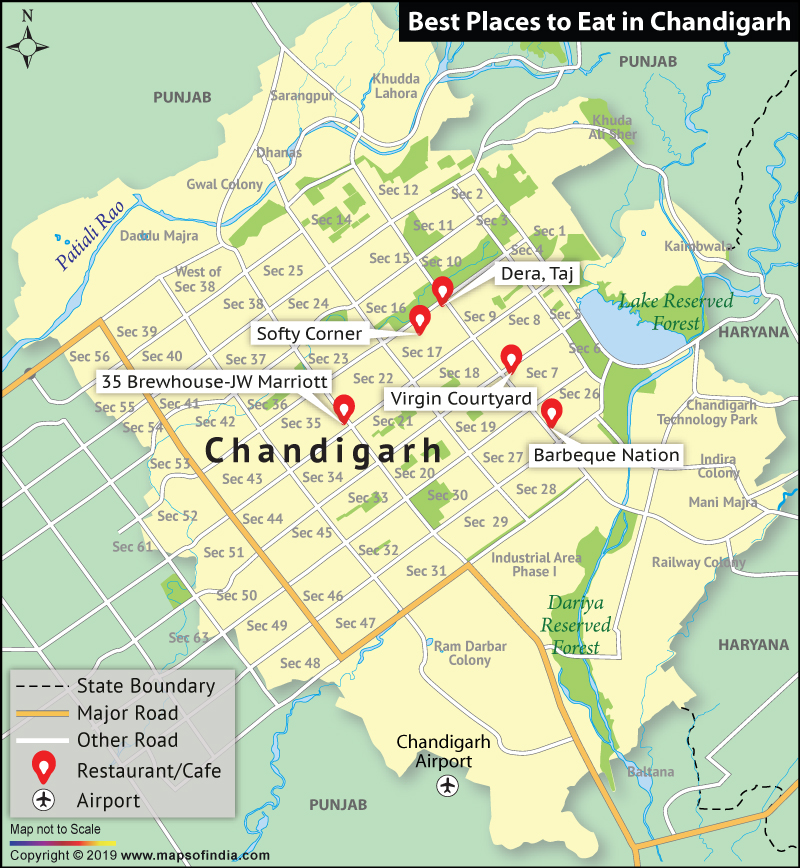 Map Showing Top Places to Eat in Chandigarh