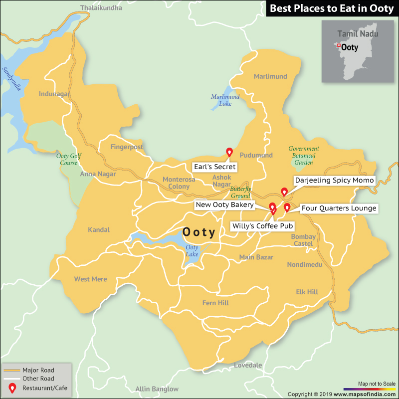 Map Showing Top Places to Eat in Ooty