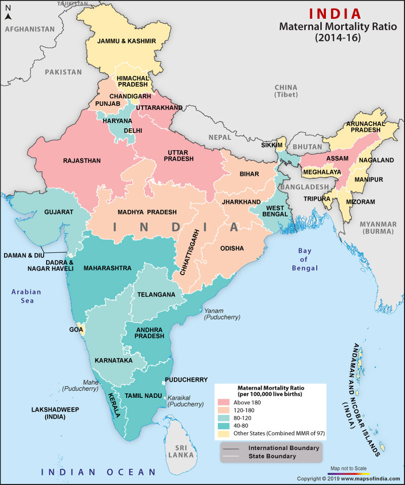 India Map Showing Maternal Mortality Ratio (MMR)