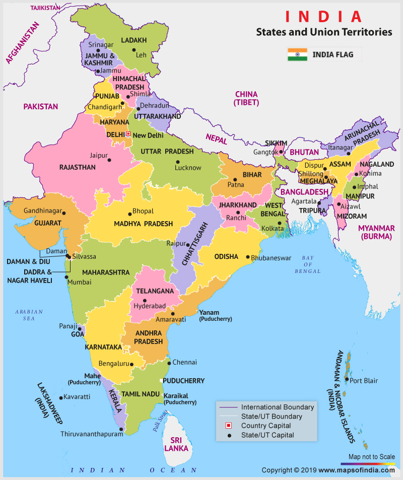 indian states and capitals map 2020 The New India 28 States And 9 Union Territories Maps And Facts indian states and capitals map 2020
