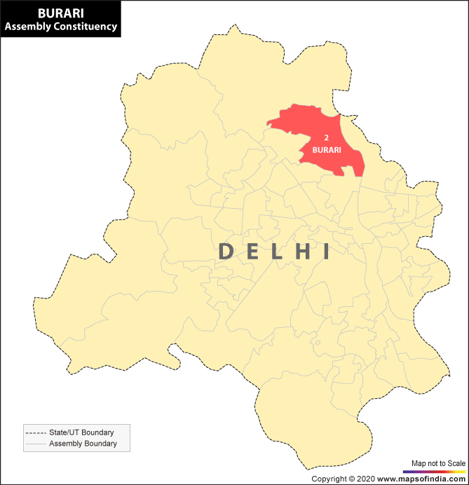 Delhi Map Highlighting Location of Burari Assembly Constituency