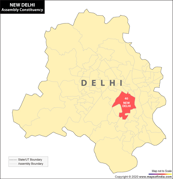 Map of Delhi Showing Location of New Delhi Constituency
