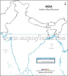 Download India Outline Map - Physical A4 Size
