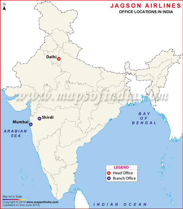 Jagson Airlines Locations in India Map