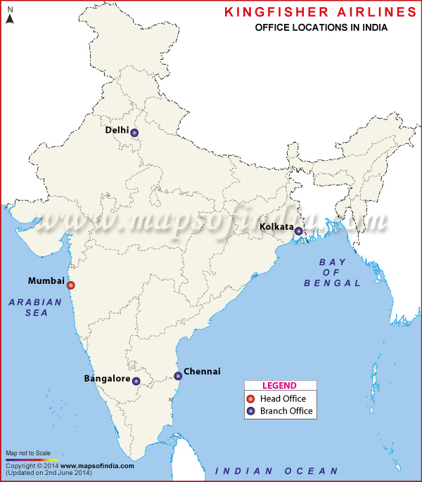 Kingfisher Airlines Locations in India Map