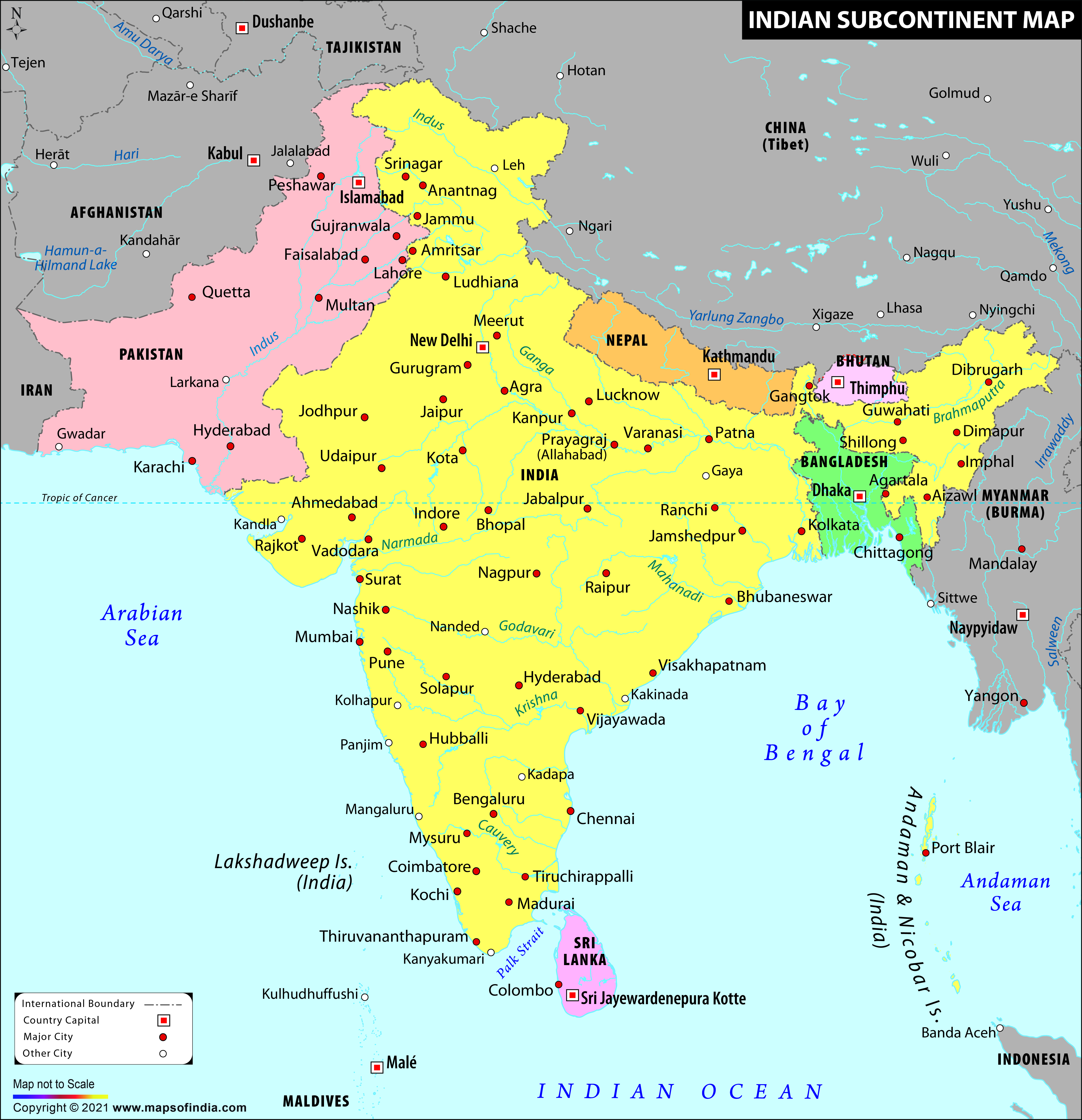 Map Of Australia And Neighbouring Countries.Indian Subcontinent Map