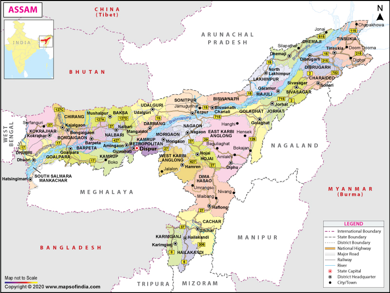 physical map of assam state Assam Map Map Of Assam physical map of assam state