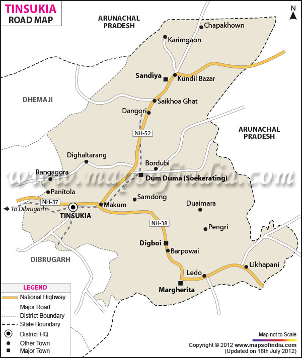 Road Map of Tinsukia