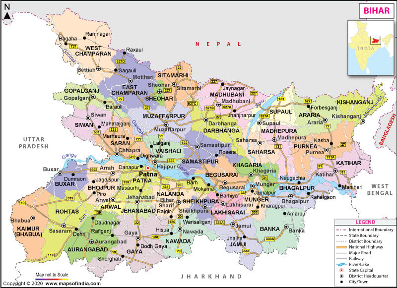 Worksheet. Bihar Map State Ditricts Information and Facts