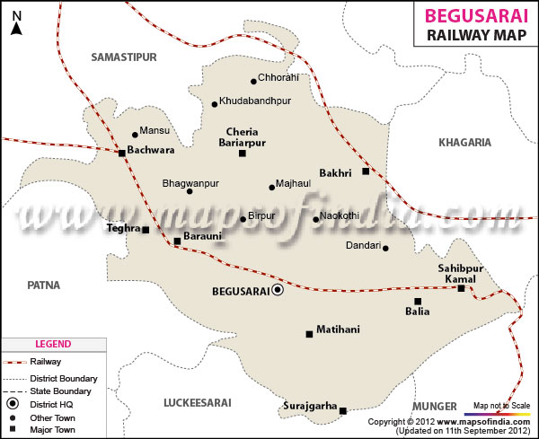 Railway Map of Begusarai