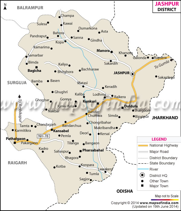 District Map of Jashpur