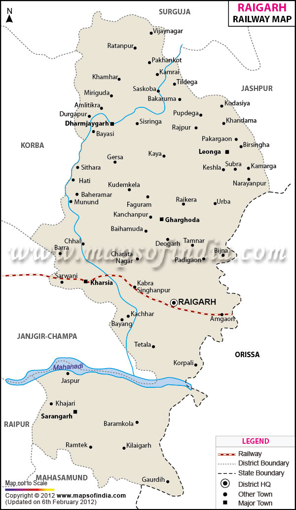 Railway Map of Raigarh
