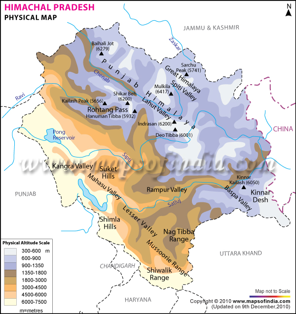 Physical Map Of Himachal Pradesh