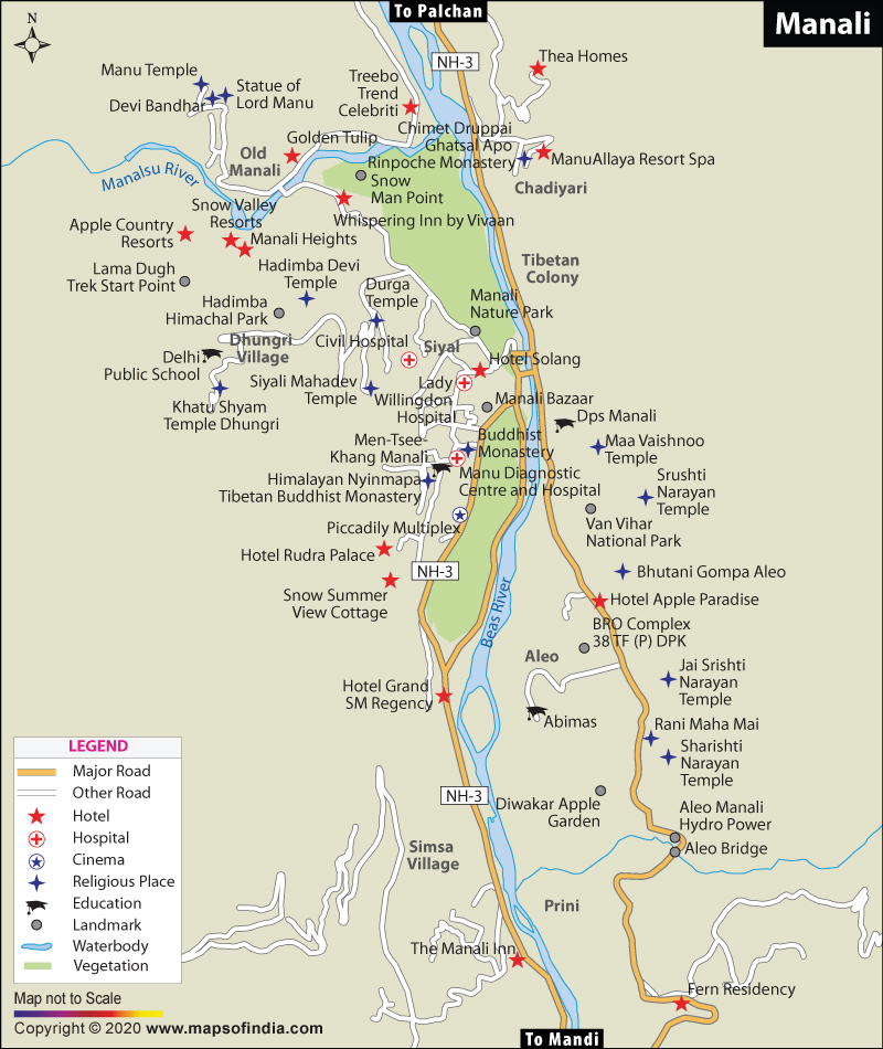 Manali India Map.Manali City Map
