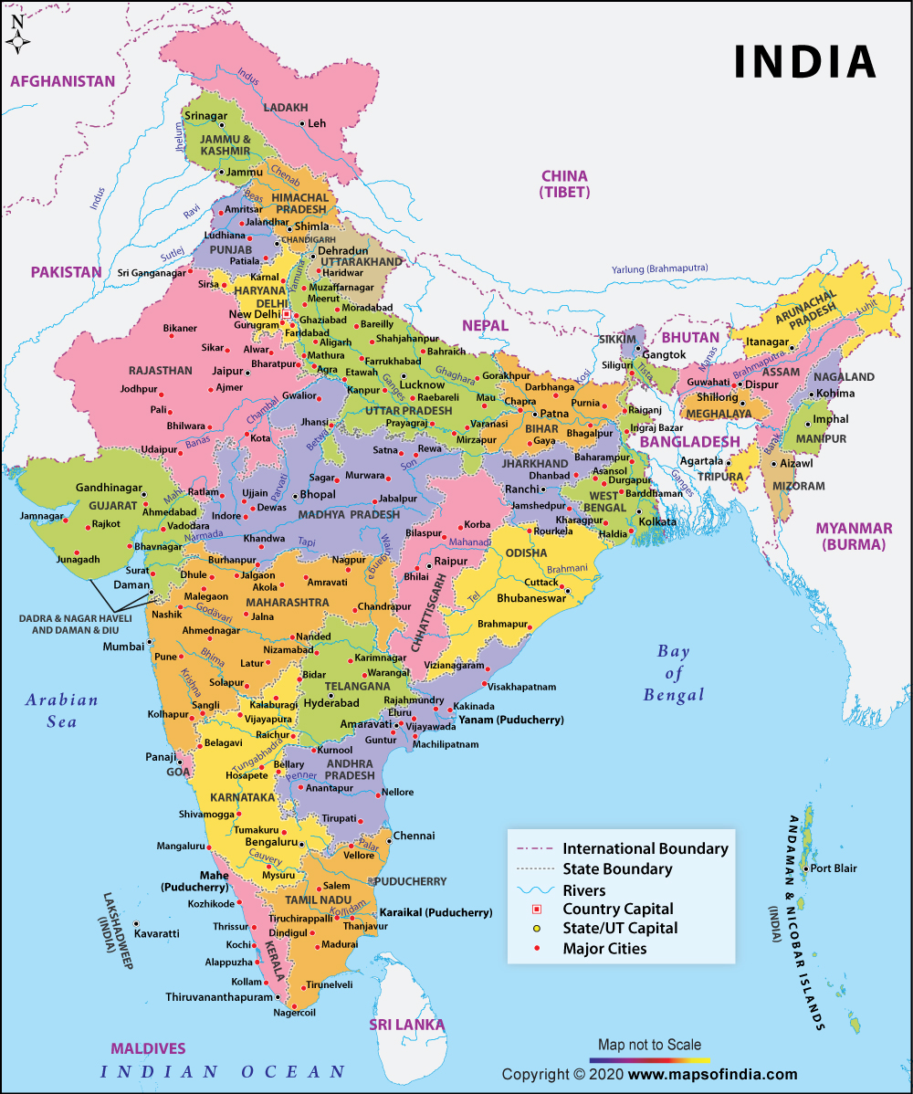 India Large Color Map