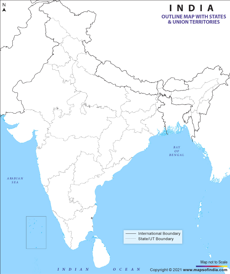 india map outline with states and capitals blank Outline Map Of India Blank Map Of India india map outline with states and capitals blank