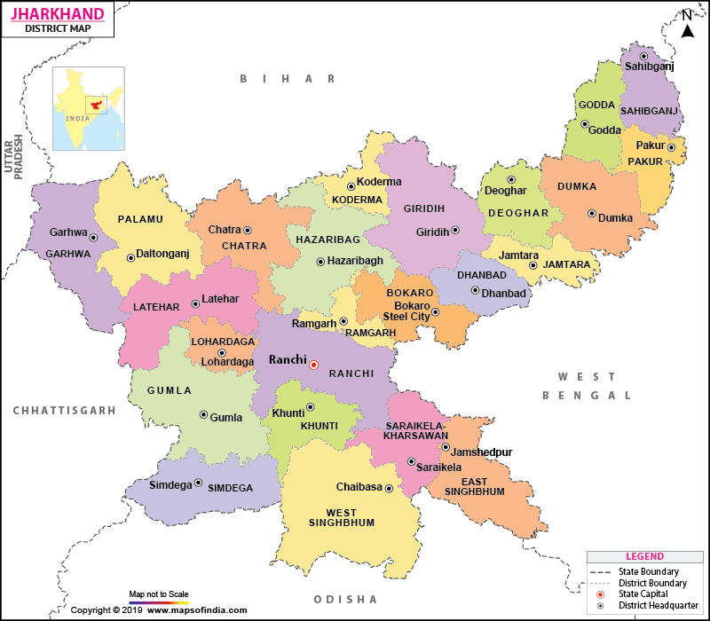 Jharkhand District Map - Border checkpost us map