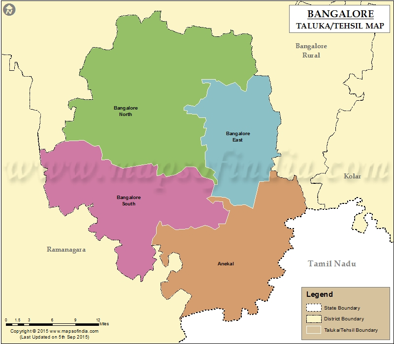 Tehsil Map of Bangalore