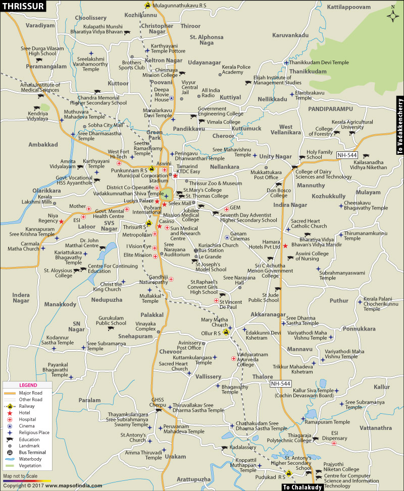 Kerala Cities Map Map of Thrissur City
