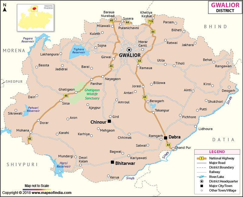 Gwalior India Map District Map of Gwalior