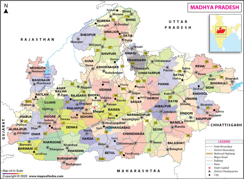 Mp Map In Hindi Madhya Pradesh Map: State, Districts Information and Facts