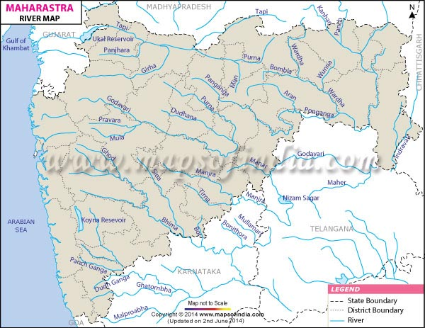 Maharashtra Rivers Map - Total number of rivers in the world