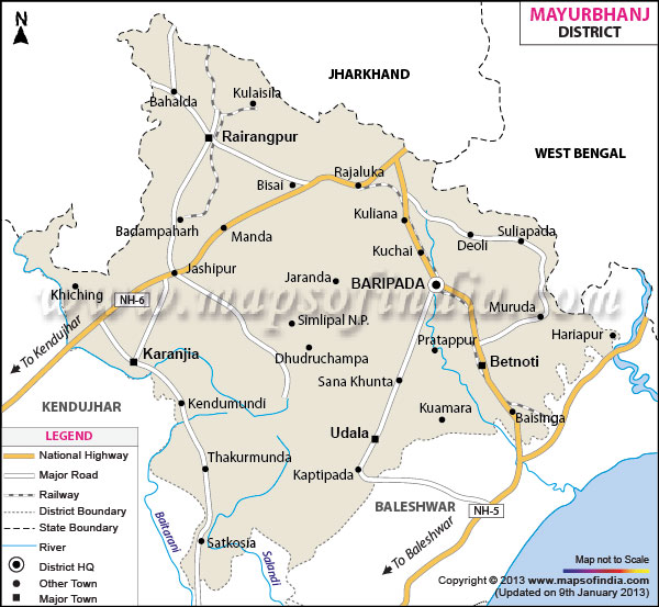 District Map of Mayurbhanj