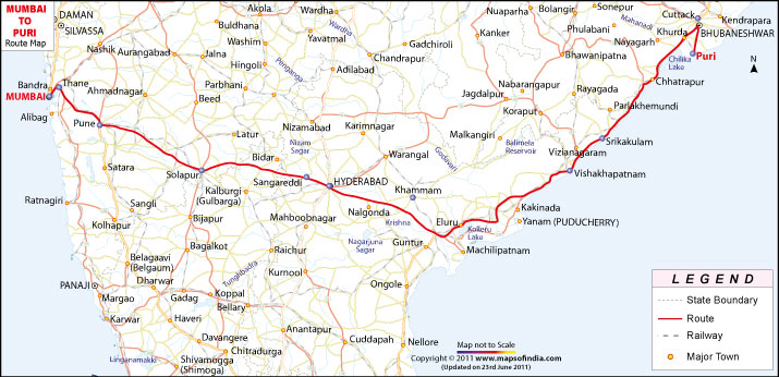 Mumbai to Puri Route Map – Road Route Map