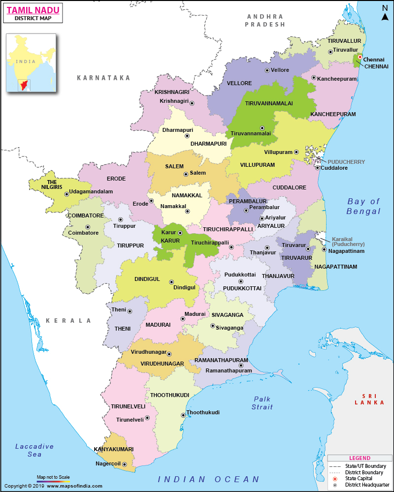 Map Of Tamilnadu Tamil Nadu District Map Map Of Tamilnadu