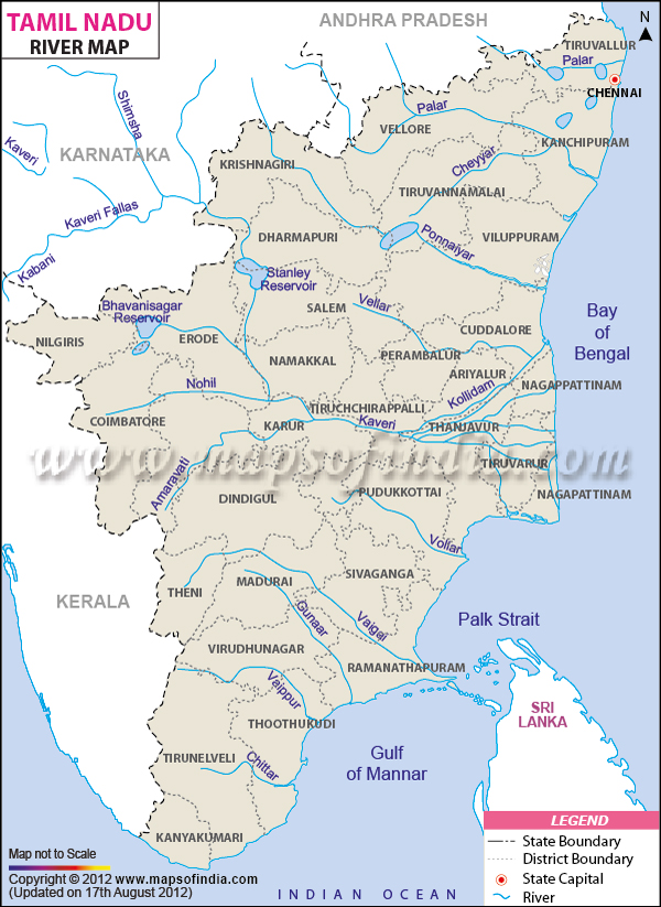 Tamilnadu riverg river map of tamil nadu gumiabroncs Gallery