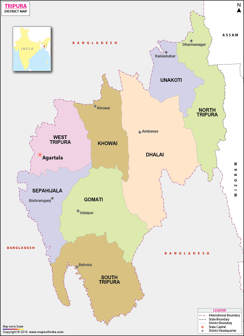 District Map of Tripura