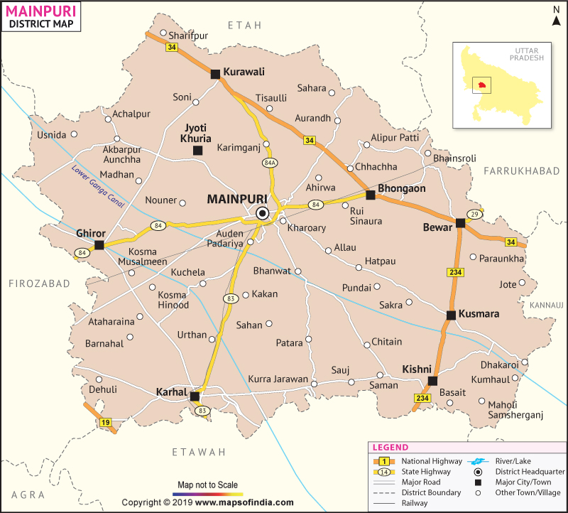 District Map of Mainpuri