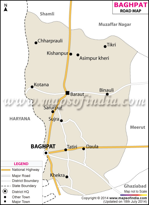 Road Map of Baghpat