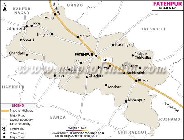 Road Map of Fatehpur